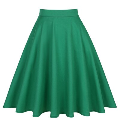 50s Red Classic Plain Circle Skirt - Ma Penderie Vintage