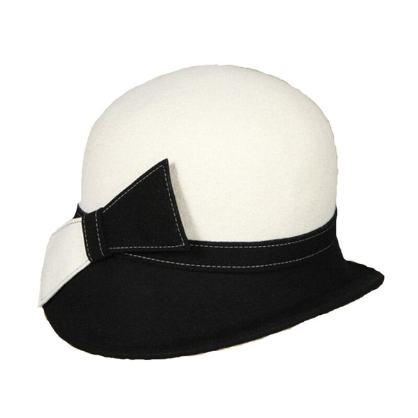60s White and Black Graphic Mod Hat - Ma Penderie Vintage