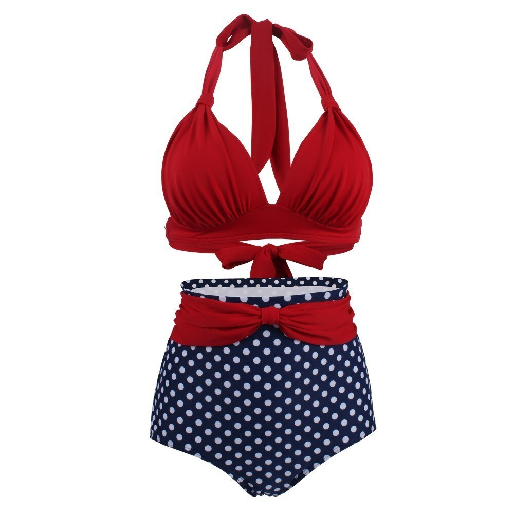 60s Bettie Page Retro Swimsuit Red and Blue Dots - Ma Penderie Vintage
