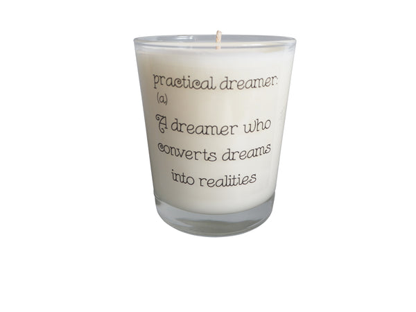 Practical Dreamer Quote Candle
