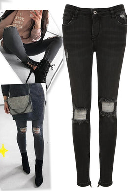 Charcoal Frayed Ripped Knee Jeans