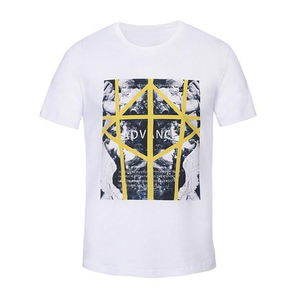 "Men's White Graphic Tee ""Advance"""