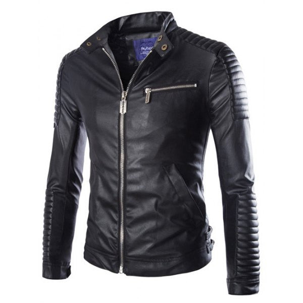 Men's Black Leather Jacket Street Style