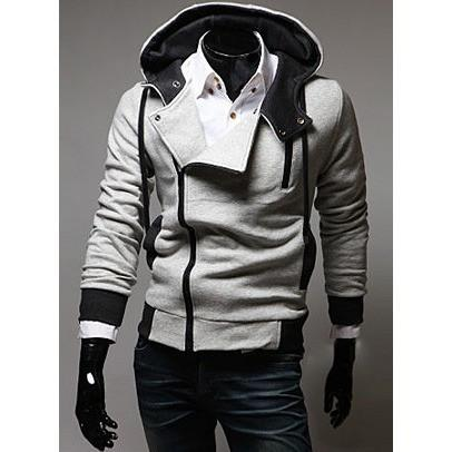 Men's Hoodie Jacket - Light Grey/Black