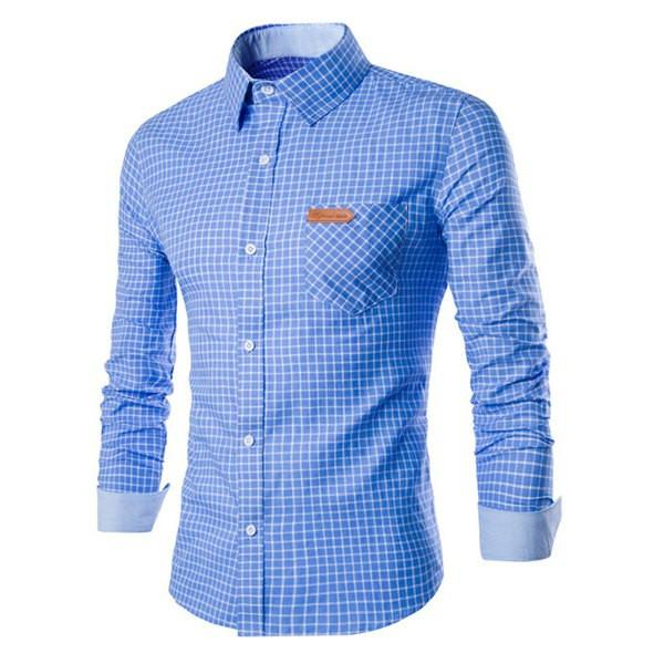 Men's Long Sleeve Button Down Shirt - Blue and White Checkard  Apps   Save