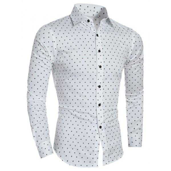 Men's Button Down Dress Shirt White Poka Dot