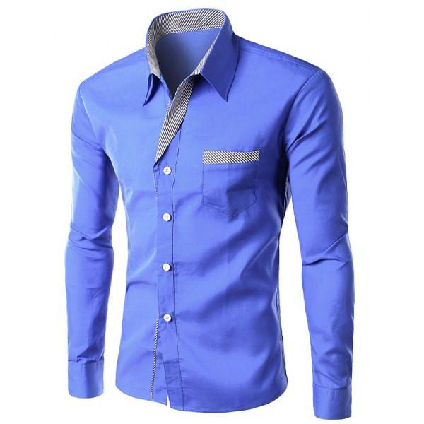 Men's Stylish Striped Blue Button Up Shirt, TrendzNow | Women's & Men's Clothing - TrendzNow Clothing Store