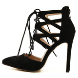 Women's Lace-Up Heels Black
