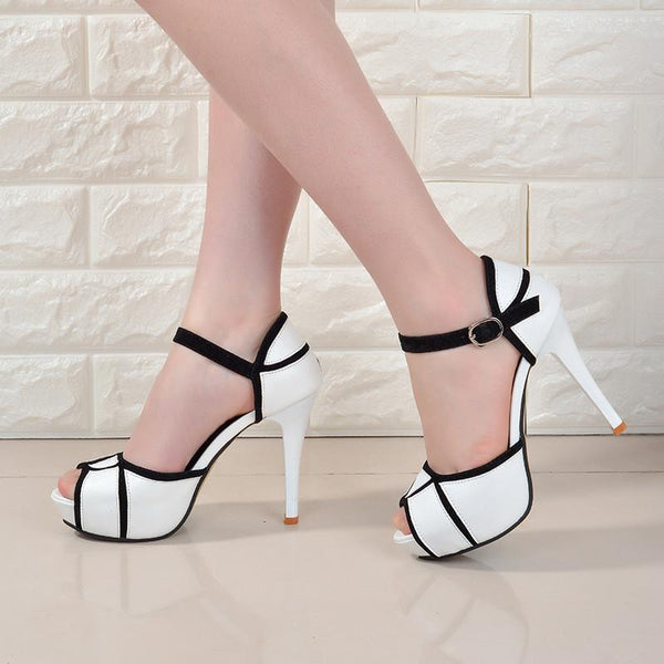 Womens Peep-toe Pumps High Heels Vogue Crossover Hasp Shoes