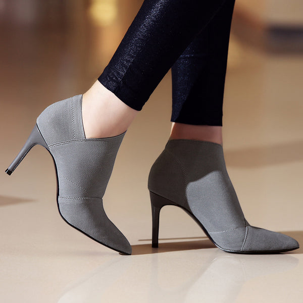 Ankle Boots - Genuine Leather & Microfiber Pointed Toe Stiletto High Heel