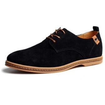 Suede & Genuine Leather Oxford Shoes Black