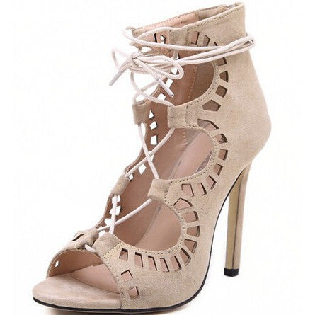 Women's Lace-Up Heels Beige