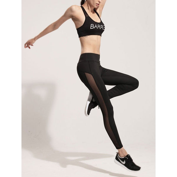 Women's Leggings - Mesh Splice