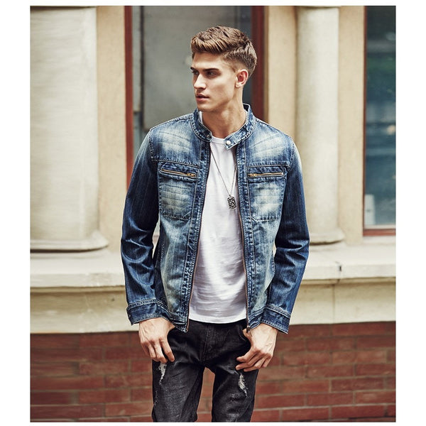 Men's Zip Up Denim Jacket