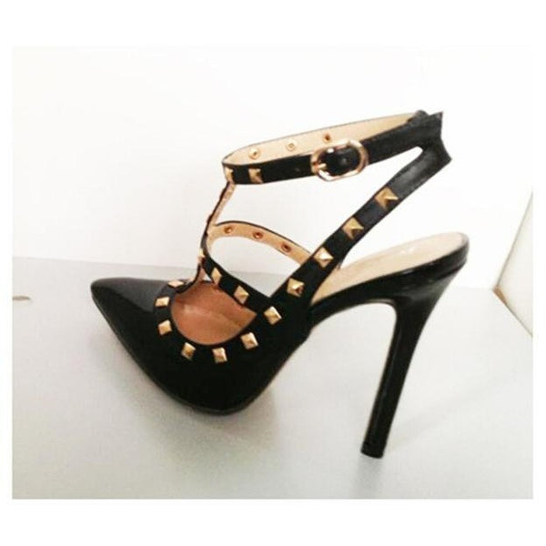 Fashion Buckle Studded Stiletto
