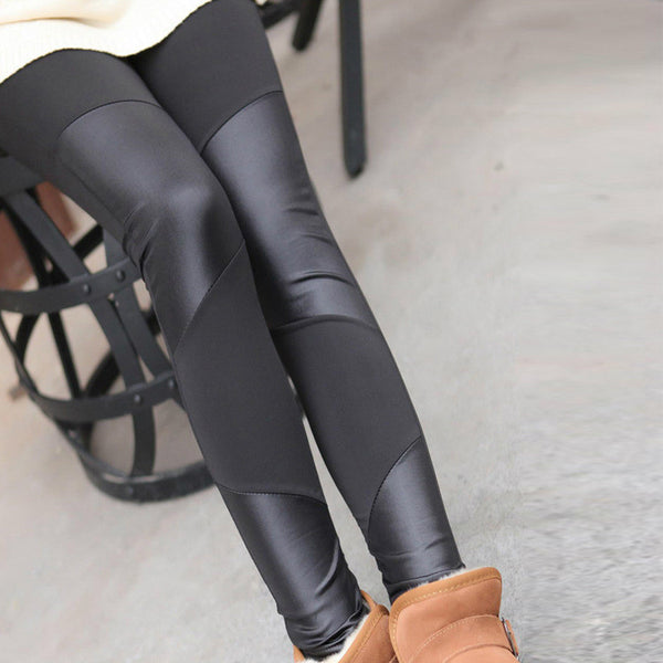 Black Leather Block Leggings