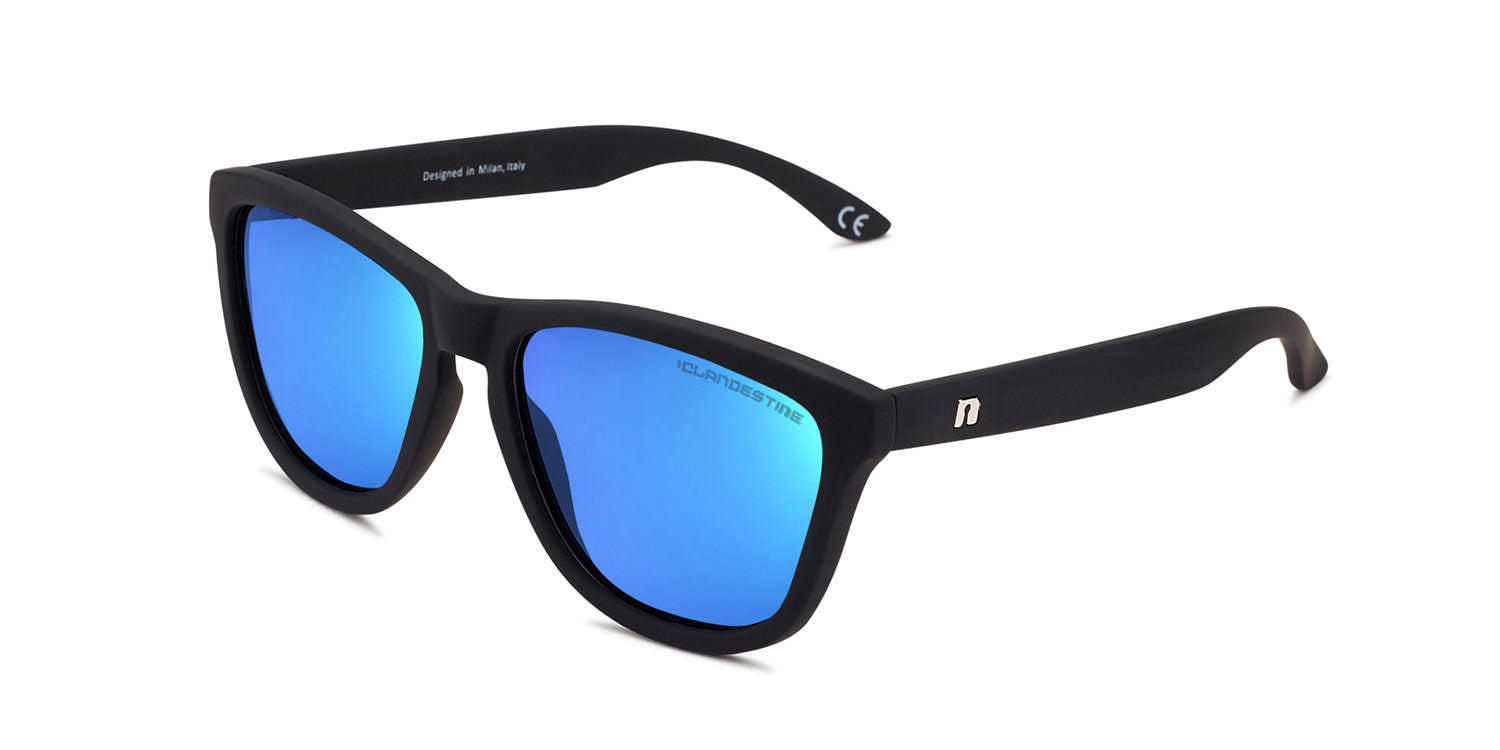 4349466de8 Gafas de sol M⑧DEL KIDS 6-12 MATTE BLACK LIGHT BLUE by CLANDESTINE®