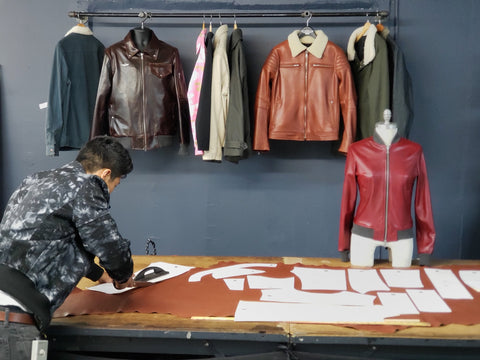 vktre moto co. leather jackets cutting production