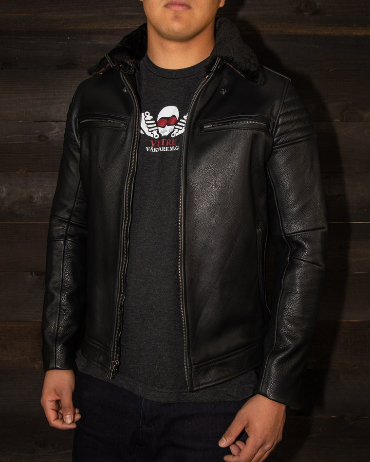 leather jacket details pilot racer fur collar