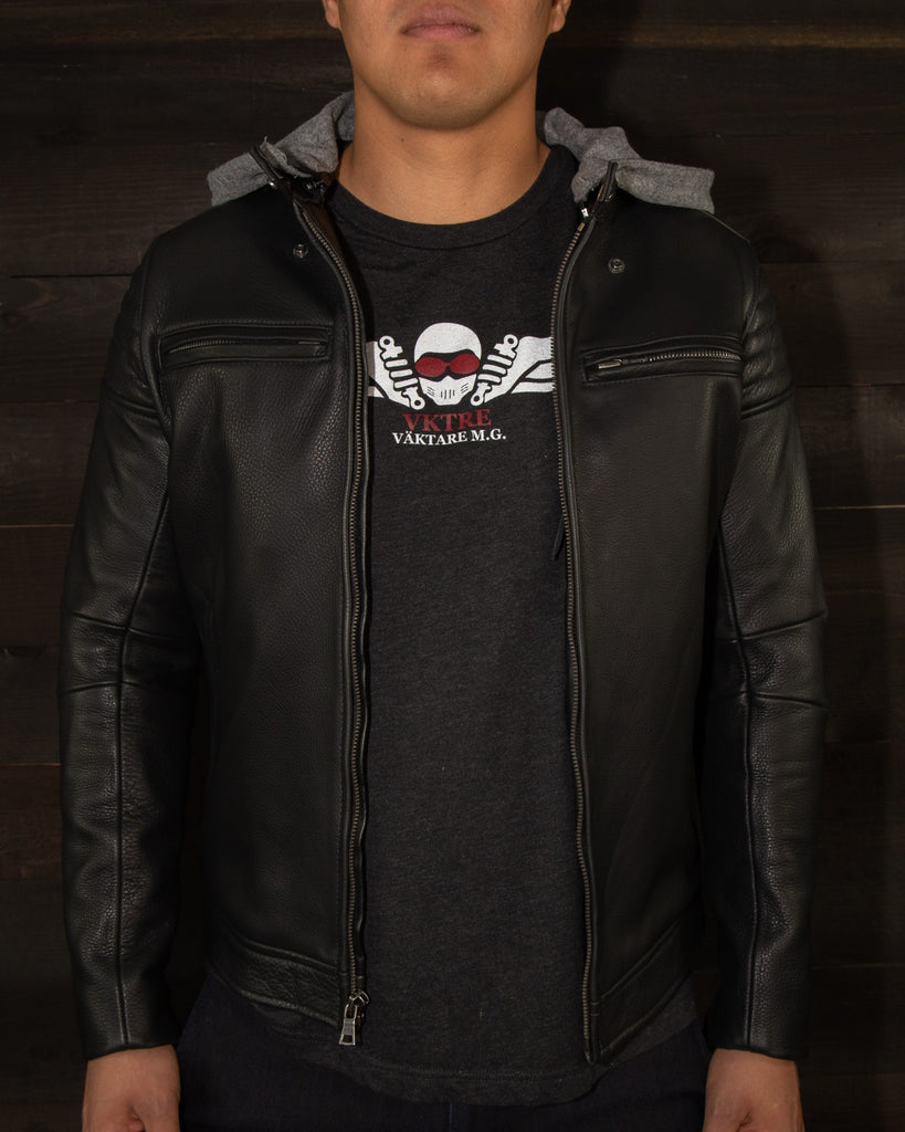 The Pilot Racer Jacket With Detachable Gray Wool Hood