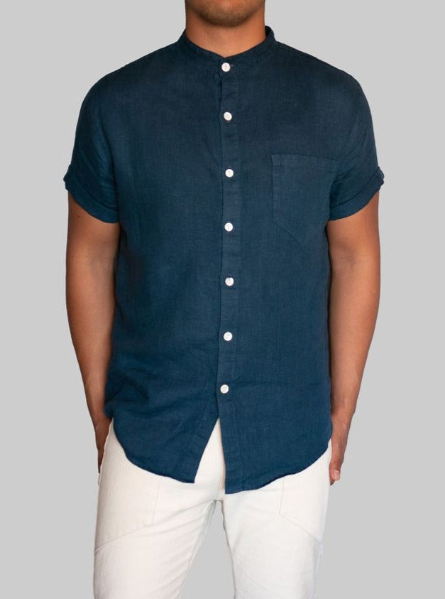 Linen Button Up Navy Blue