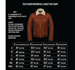 vktre moto co. leather jacket size chart