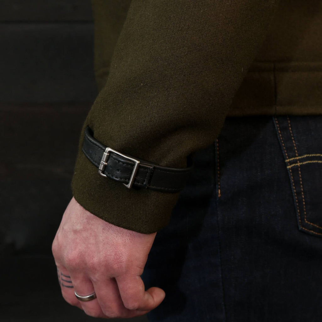 wool moto coat metal buckle closure