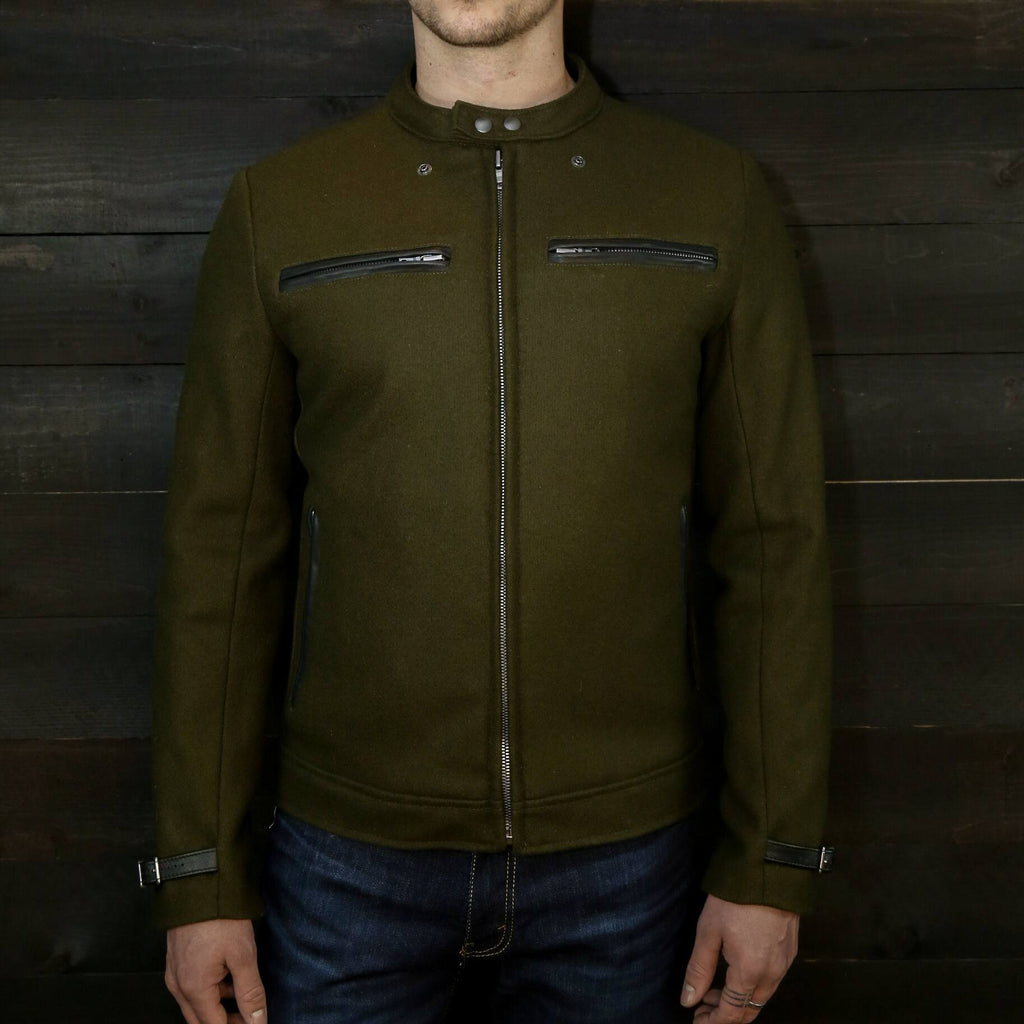 wool pilot racer jacket with leather trim