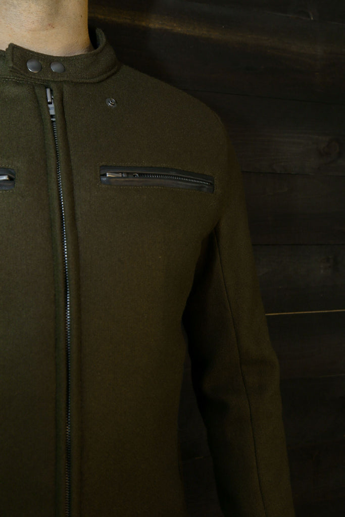 The Pilot Racer Jacket in Forest Wool