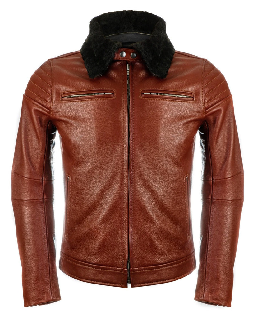 pilot racer motorcycle jacket cognac with black shearling