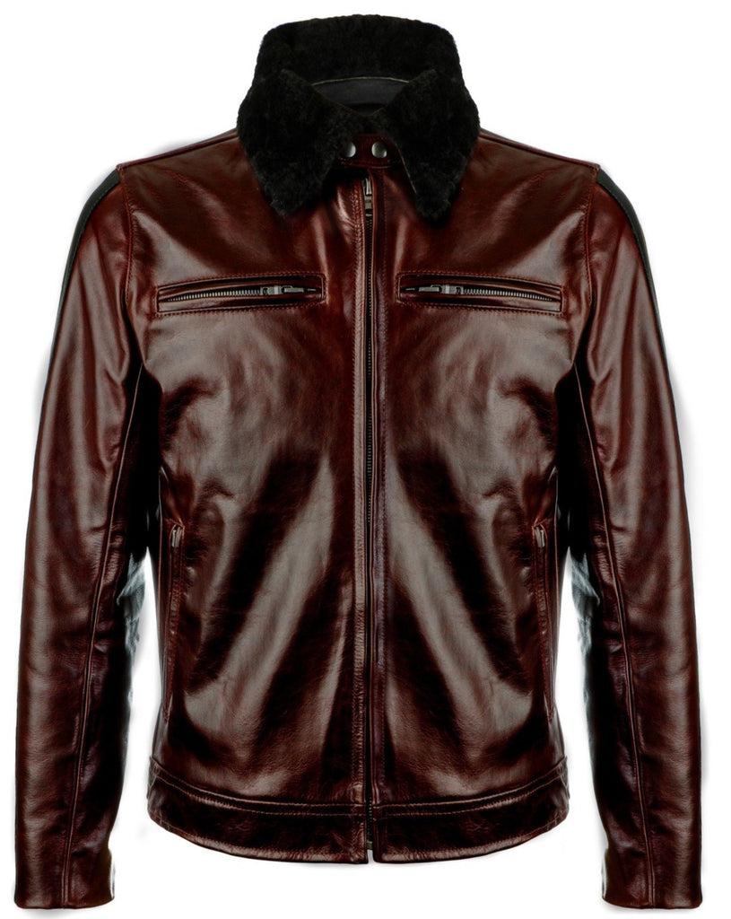 pilot racer motorcycle jacket in italian steerhide leather