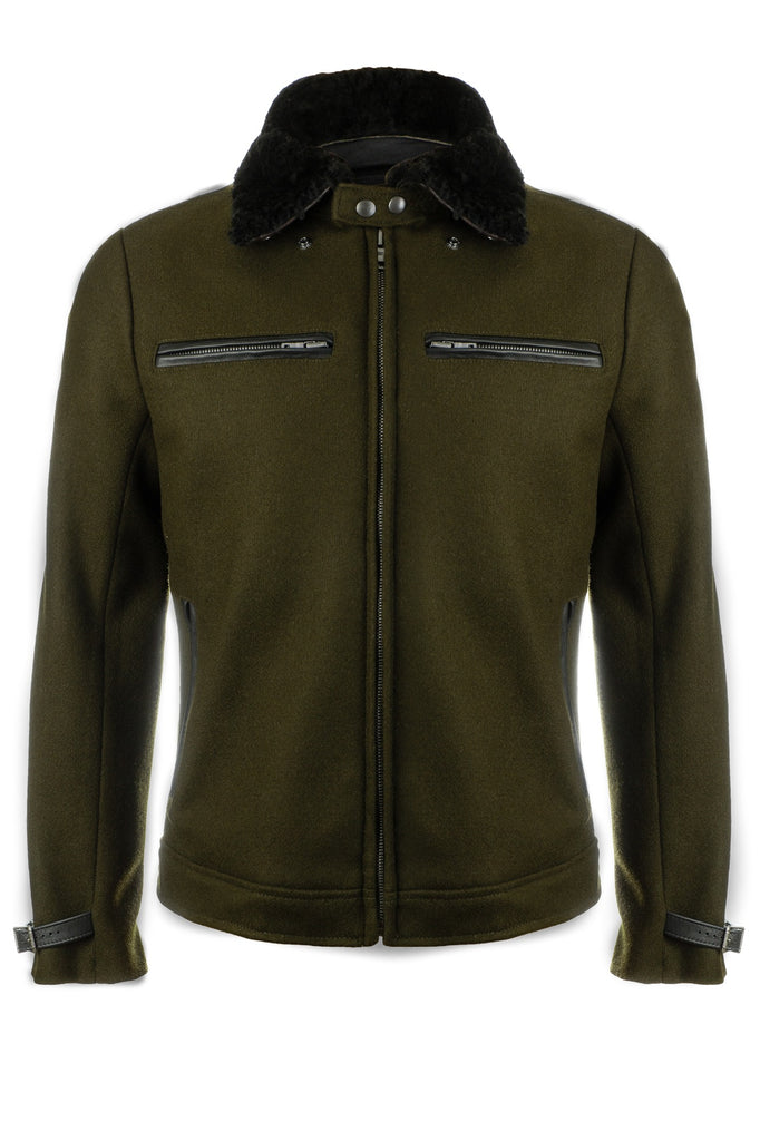 vktre moto co. wool motorcycle jacket with sheepskin collar