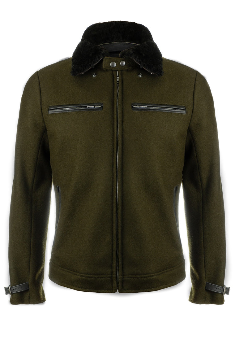 Pilot Racer Jacket in Forest Wool with Detachable Black Shearling Collar