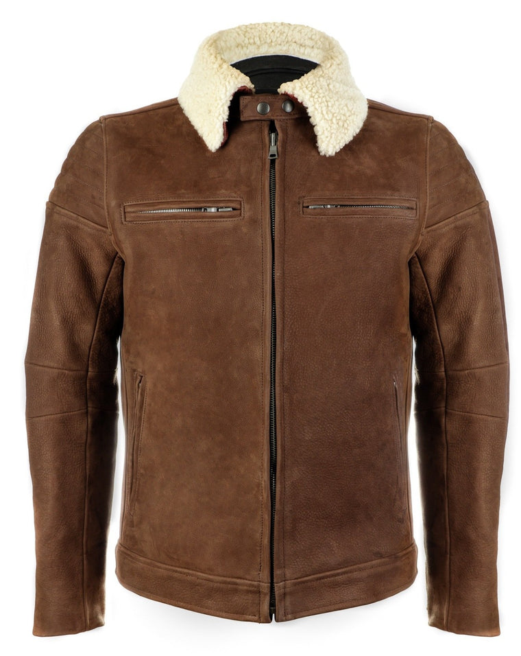 The Pilot Racer Jacket in Hazel Nubuck with Cream Removable Collar
