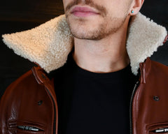 vktre moto co shearling collar jacket