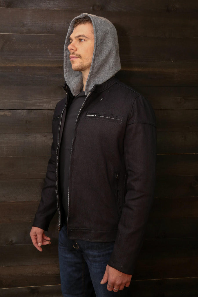 Gray Wool Riding Hoodie