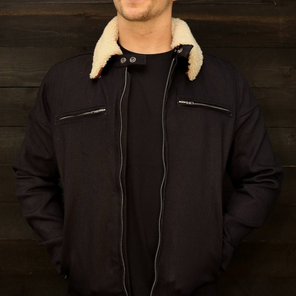 The Pilot Racer Jacket Dyneema Denim with Detachable Shearling Collar