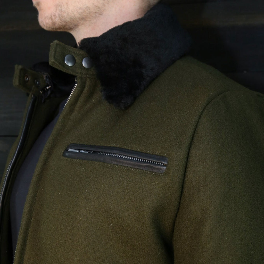 vktre moto co wool pilot racer shearling collar