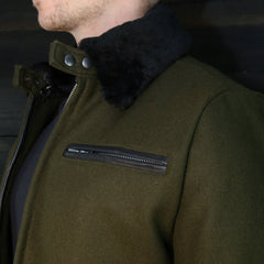 The Pilot Racer Jacket in Forest Wool With Detachable Collar