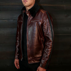 vktre moto co leather pilot jacket brown