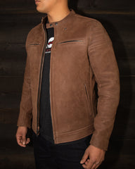 The Pilot Racer Jacket in Hazel Nubuck with Black Removable Collar