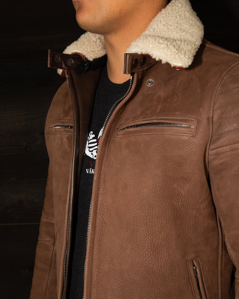 vktre moto co nubuck shearling collar jacket