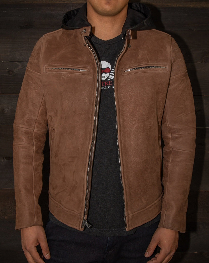 moto jacket black leather hood nubuck vktre