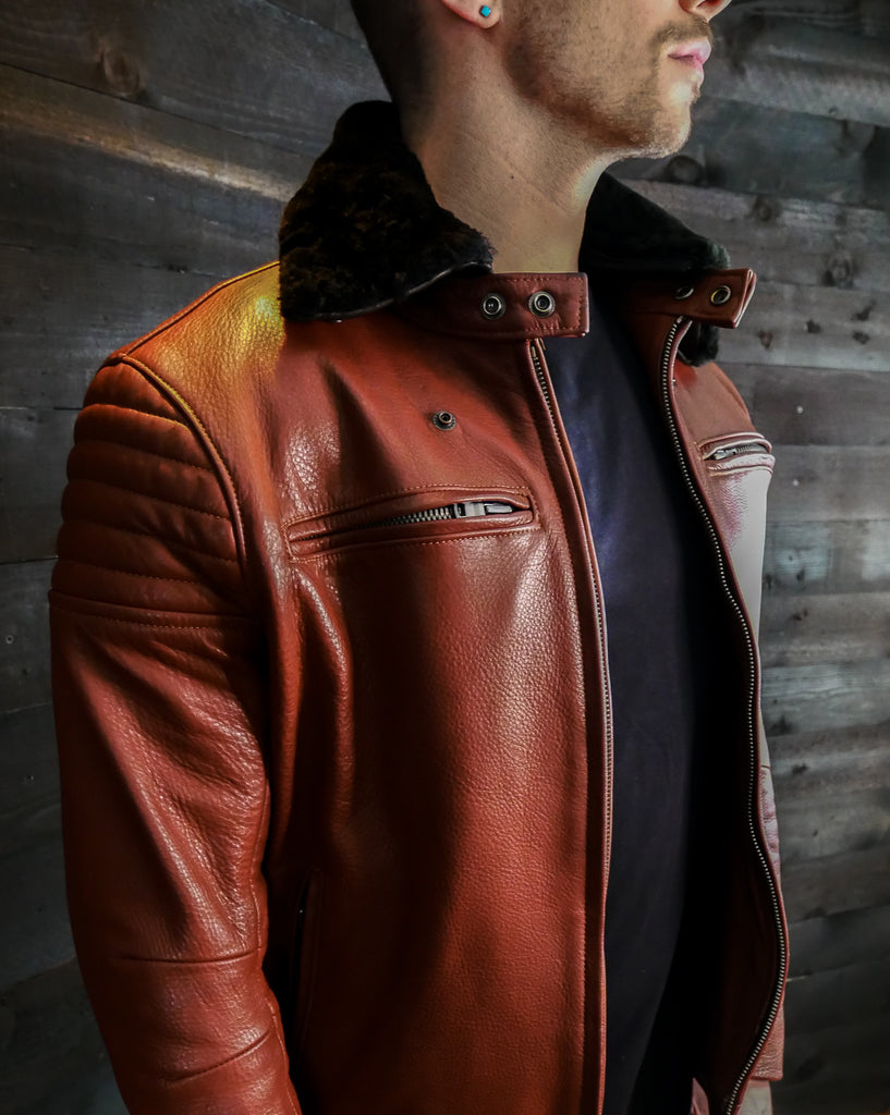 cognac pilot racer leather jacket black sheepskin
