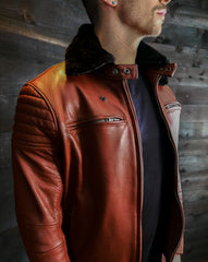 The Pilot Racer with Black Shearling Collar