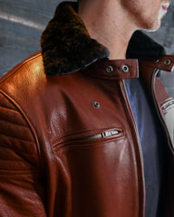 vktre moto co brown leather jacket shearling collar