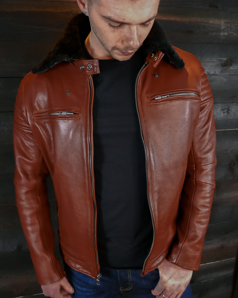 vktre moto black leather jacket shearling collar