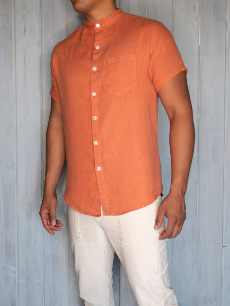 Linen Button Up Tangerine