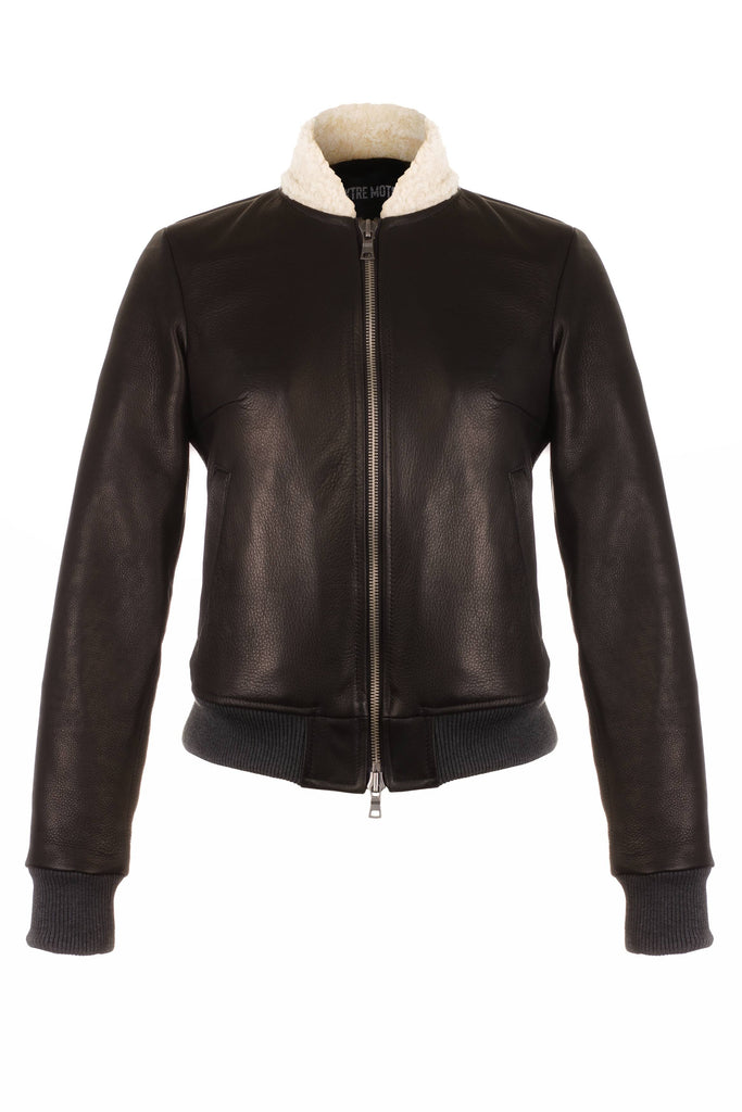 Ladies' Aviator Motorcycle Jacket (Cherry Red full grain leather)