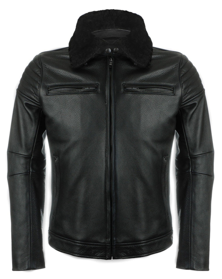 The Pilot Racer Jacket With Black Detachable Collar